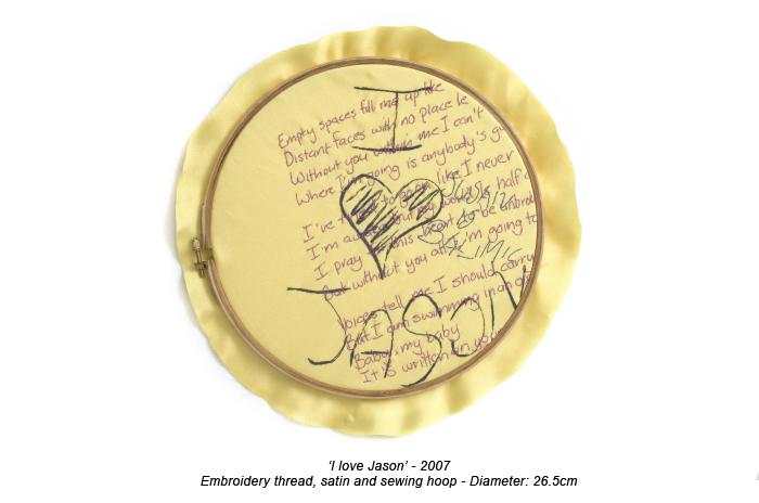 Frances Goodman - I Love Jason - Hand Embroidery