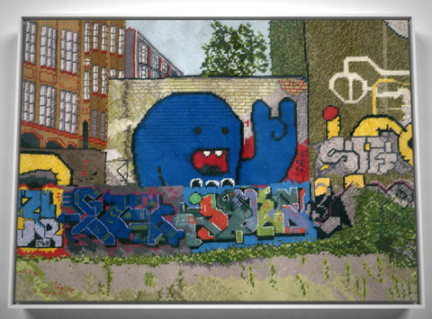 Jacquelyn Royal - Berlin 1 graffiti needlepoint