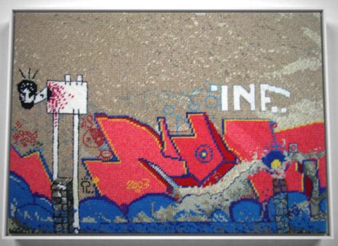 Jacquelyn Royal - Berlin 3 graffiti needlepoint