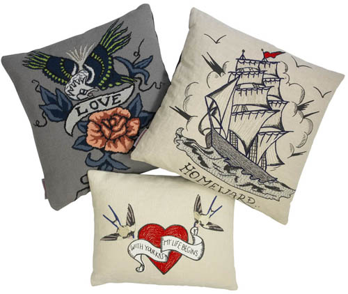 Fine Cell Work's Tattoo Inspired Cushions