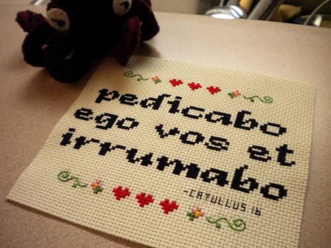 pedicabo ego vos et irrumabo cross stitch sampler by m00nshine