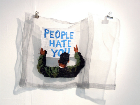 Ami Grinsted - people hate you hand embroidery on metal