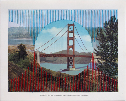 Shaun Kardinal - Near Oregon City - embroidered postcard