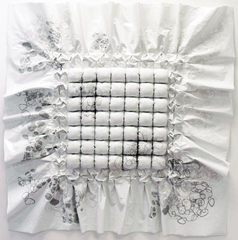 Jillian Hurst - cross stitch on vinyl upholstery