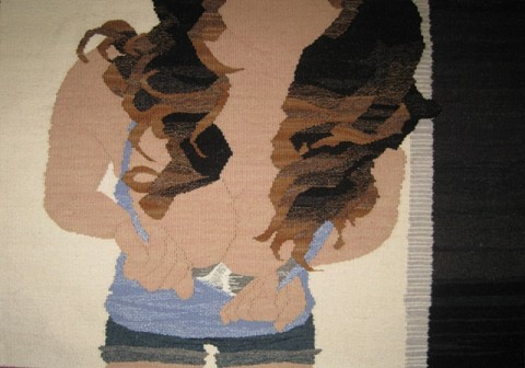 Erin Riley - Tits tapestry weaving