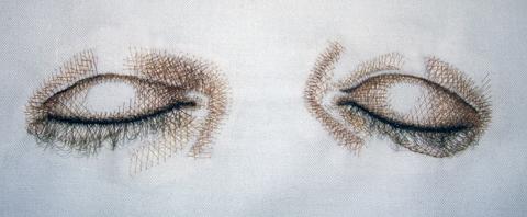 "Kate Kretz - ""Ebb."", 2006, human hair embroidery on pillowcase, 20 x 30 x 10"""