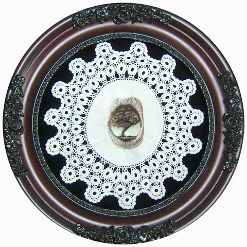 "Kate Kretz - Oubliette II, 2008, human hair embroidery on found linen doily, hand-dyed velvet, convex glass, frame, 9 x 9"", 13 x 13"" framed."