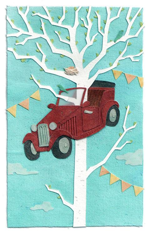 Miki Sato - Car Crash embroidered textile collage