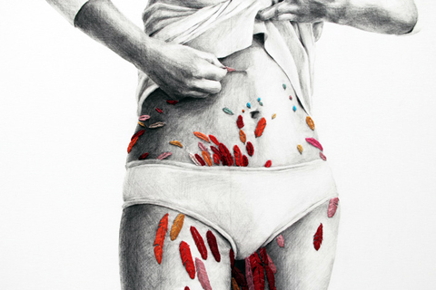Ana Teresa Barboza - Untitled - hand embroidery on graphite