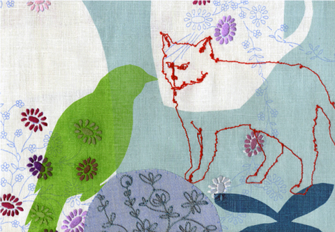 Maxine Sutton - Hey Cat - embroidered textile artwork