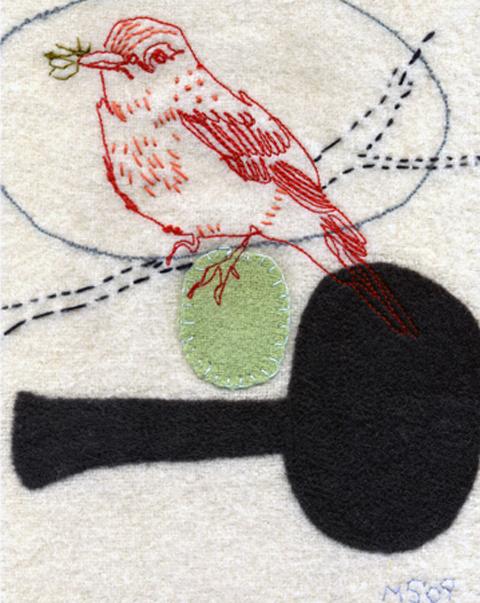Maxine Sutton - Little Red Bird - embroidered textile artwork