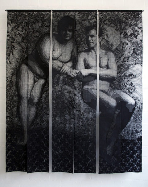 Pierre Fouche - Fred & Denis (2011). Domestic sewing machine embroidered lace in six panels. 1660 x 1380mm