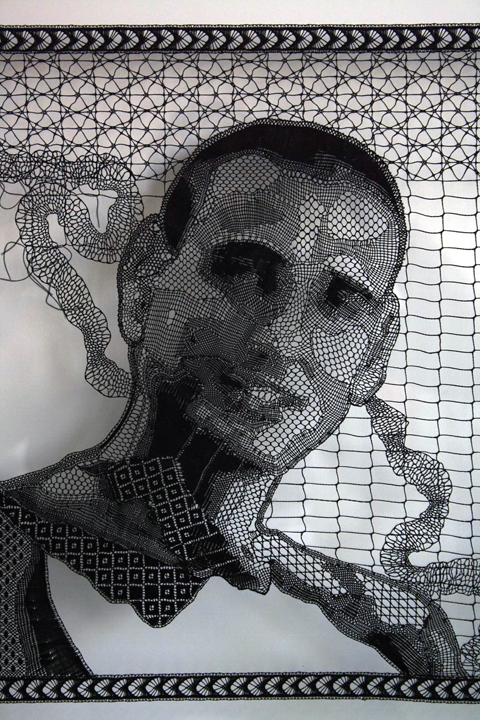 Pierre Fouche - Portrait of Guy Nardy (2009-2012). Bobbin Lace in Polyester Floss detail