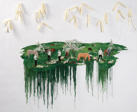 Sophia Narrett, Still Burning, 2012, Embroidery, Embroidery Thread, Fabric, Candles, Acrylic, Dimensions Variable