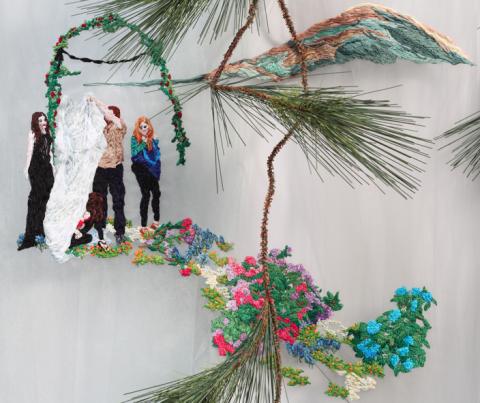 Sophia Narrett,  Embroidery Thread, Fabric, Artificial Evergreen Branch, Approx. 66 x 42 x 9 in