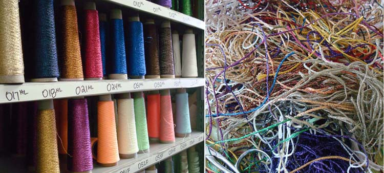 We save threads leftover from the manufacturing, coning, or spooling process.