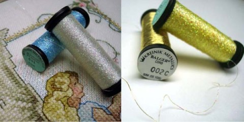 Kreinik Blending Filament and Cord offer the most subtle metallic effect in stitching.