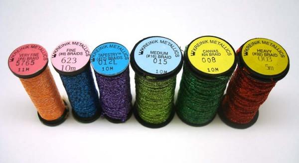 Kreinik makes metallic Braids (a soft, flexible, round thread) in different sizes - perfect cross stitch threads!