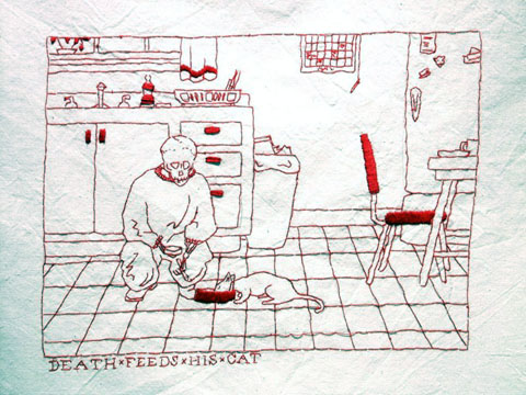 Mary Mazziotti - A Day In The Life of Death - Death Feeds His Cat - hand embroidery