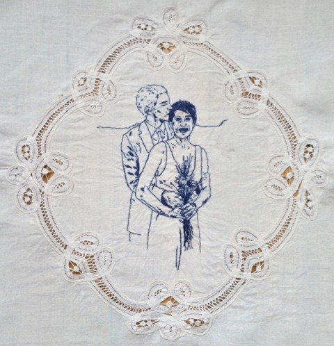 Nicole Briant - Sarah And David In Blue - hand embroidery