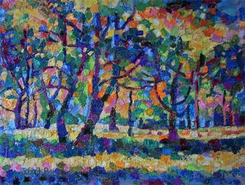 Richard Box - Autumn Trees - Fabric Collage with Machine and Hand Embroidery