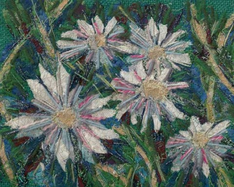 Richard Box - Daisies - Fabric Collage with Machine and Hand Embroidery