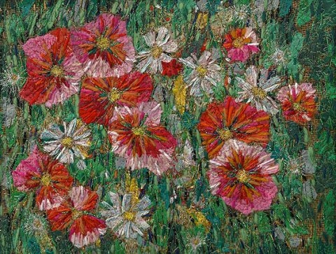 Richard Box - Poppies and Daisies - Fabric Collage with Machine and Hand Embroidery