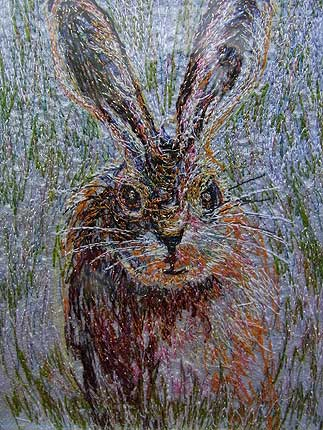 Richard Box - The Leveret - Fabric Collage with Machine and Hand Embroidery
