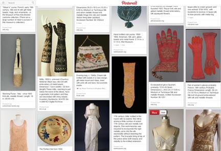 The History board on Kreinik's Pinterest page features silk and metallic threads used throughout the centuries, from samplers to shoes, clothes, and other designs.