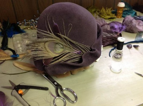 Emily Moe - Freeform Lavender Velour Cloche With Lightly Bleached Peacock Feather