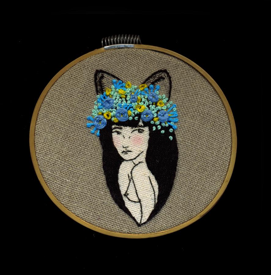 Mario Conejo - Florituras (2013) - Acrylic and thread on linen