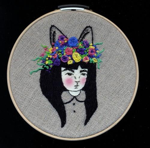 Maria Conejo - Florituras (2013) - Acrylic and thread on linen