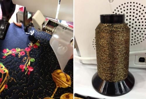 Metallic thread machine embroidery