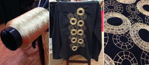 Machine embroidered shirt