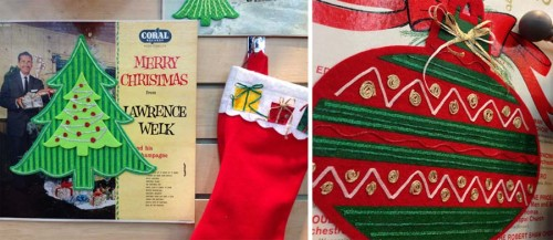 Kreinik Iron-on Threads embellish felt and fabric scraps in these holiday designs.