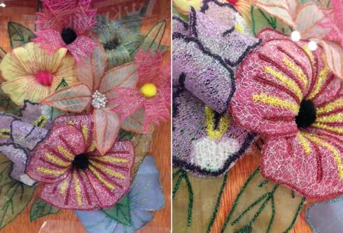 Dimensional quilt flowers
