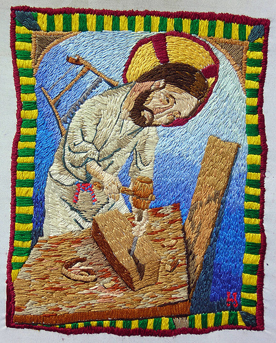 William Schaff - An Embroidered Jesus, Being a Carpenter. Hand embroidery. 2006
