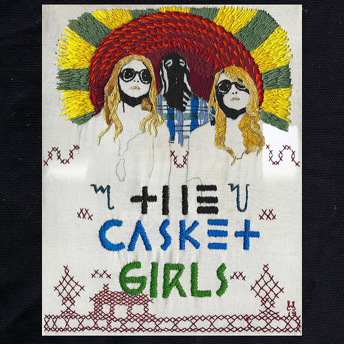 William Schaff - Artwork for an upcoming Casket Girls release. Hand embroidery on silk. 2013.
