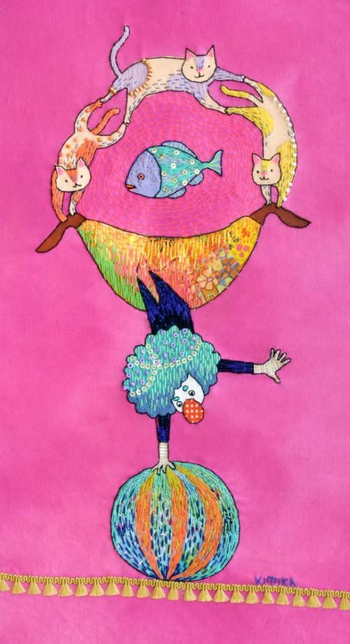 Kimika Hara - A Clown & Cats - Hand Embroidery