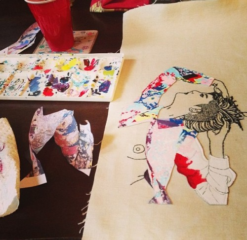 Painting leather, work in progress. Meghan Willis, 2013.
