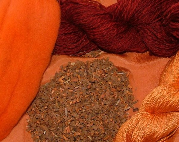 Madder: Red, pink, orange, copper, russet, coral.  The root of the madder plant (Rubia Tinctoria) is used. It was imported into England from Asia.