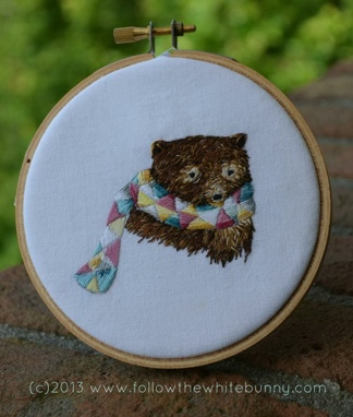 Boris Bear, hand embroidery.
