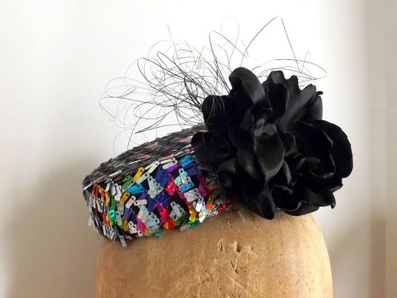 Etsy ChefBizzaro Rainbow Sequin Cocktail Hat