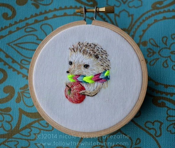 Hedgie, 2014. Hand embroidery.