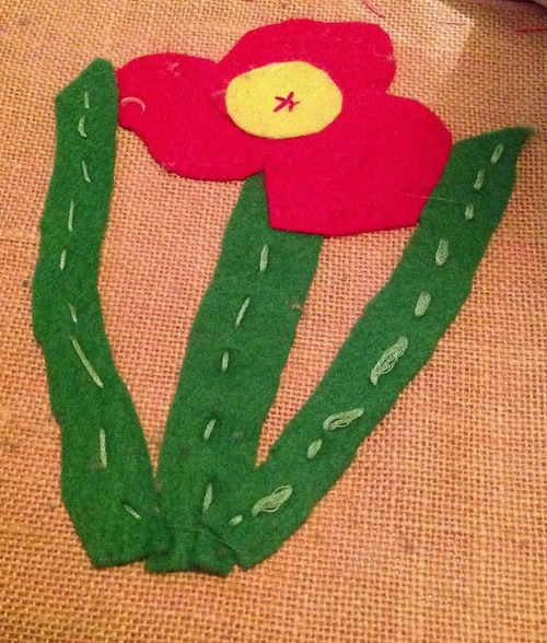 One of my very first stitched creations, made at playschool.