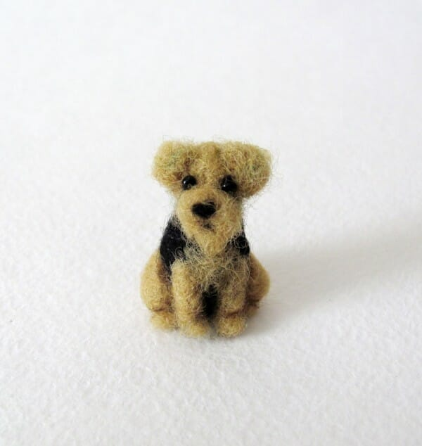 Handmade by November, needle felted dog