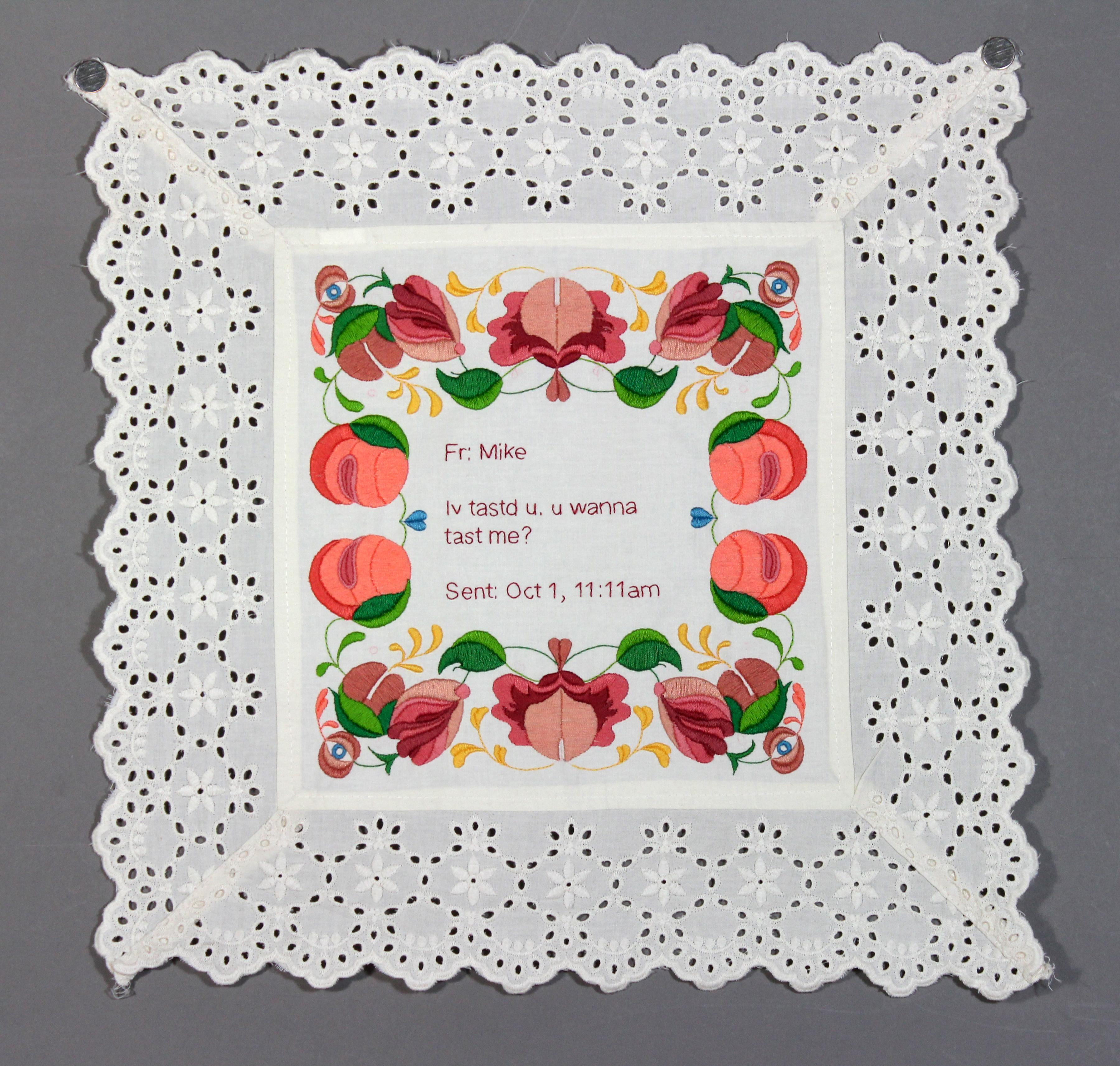Kathyrn Shinko - Dirty Sampler Series - iv tastd u - hand embroidery on cloth (2014)