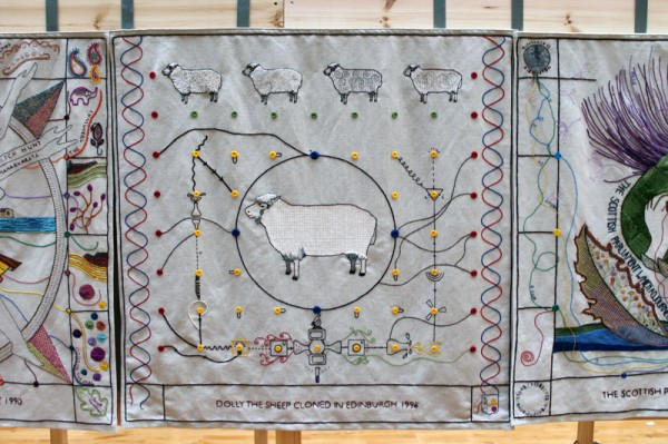Dolly the Sheep panel at the Great Tapestry of Scotland