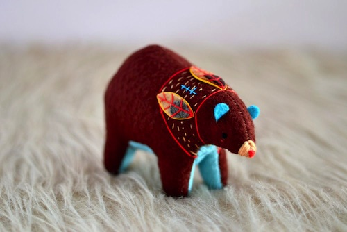 Birchwood Spirit Bear by Sabina Gibson (Soft Sculpture)