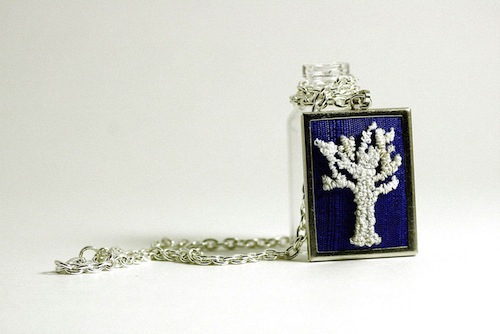 White Winter Tree Silhouette Necklace by Harp and Thistle (Punchneedle embroidery)
